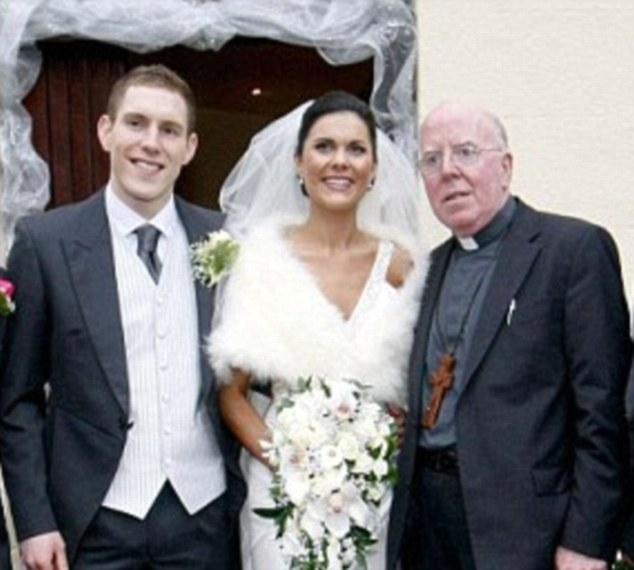 Wedding day: Mr McAreavey is pictured above with Michaela McAreavey and a relative on their wedding date in late 2010
