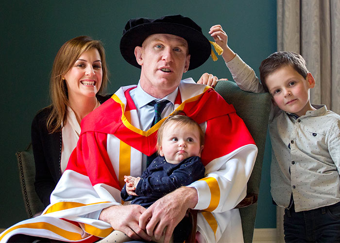 Dr. Paul O'Connell is pictured with his wife Emily, children, Lola, 1 and Paddy, 5