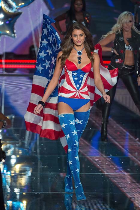 Model Taylor Hill walks the runway during the 2015 Victoria's Secret Fashion Show at the Lexington Armory on November 10, 2015 in New York City. Pic: Getty