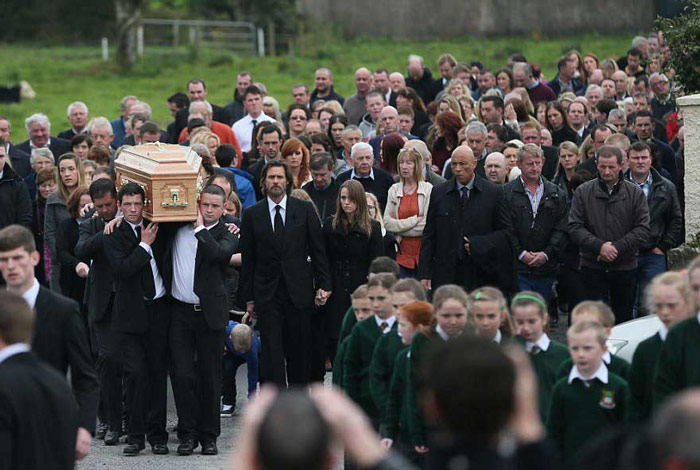Carrey at Cathriona's funeral in Tipperary Pic: File
