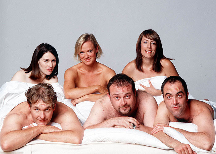 The original Cold Feet team, with Rachel who died in the final series
