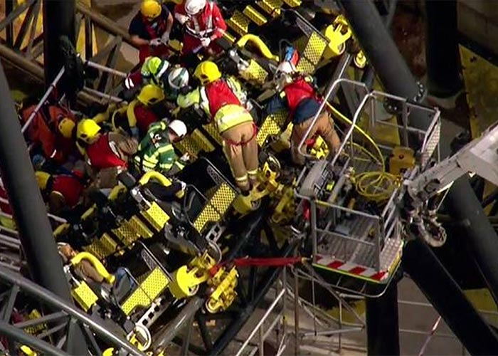 Emergency services working to free people trapped on the crashed Smiler ride at Alton Towers Pic: FIle