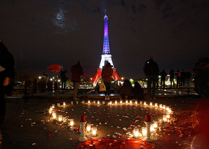 The Eiffel Tower lit up to commeroate those who died in November's terrorist attacks.