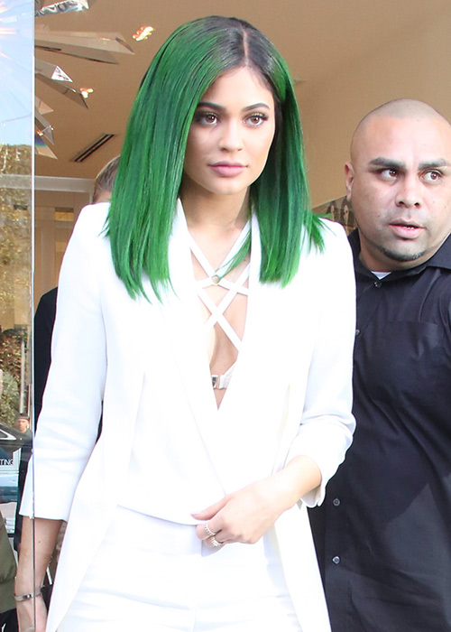 Kylie debuted forrest green hair this week