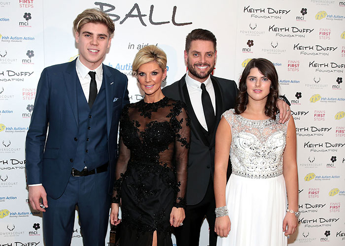 Keith, sporting his more familar bearded look, with wife Lisa and kids, Mia and Jay and his family at the Keith Duffy Foundation ball