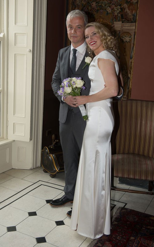 Pamela with her husband Ronan Ryan on their wedding day