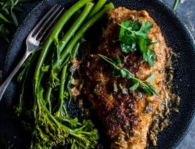 Chicken breasts with a parmesan crust and herb sauce ...