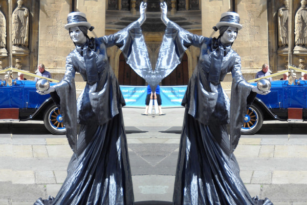 The Silver Ladies Human Statues