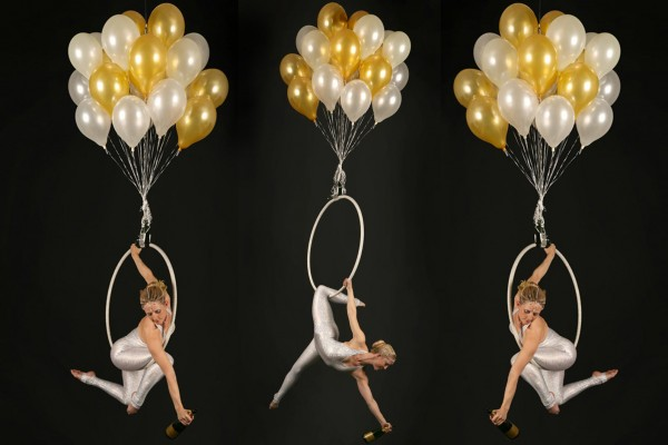 Champagne Balloons Aerial Hoop