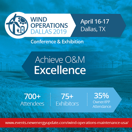 The 11th Annual Wind Operations Dallas 2019 (April 16-17, Texas) is the world's premier event for wind O&M and asset management business leaders, project stakeholders and service specialists.