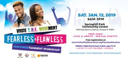FEARLESS & FLAWLESS is a FREE one-day workshop for teens filled with entertainment, celebrity guest speakers, free food, give-a-ways, and empowerment.  Register: VoiceTheMovement.org/fearlessflawless.