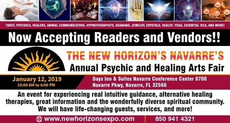 The New Horizon's Navarre's Annual Psychic and Healing Arts Fair  Psychic Fair brings speakers, tarot readers, mediums, healers, metaphysical gifts, and even UFO enthusiasts.