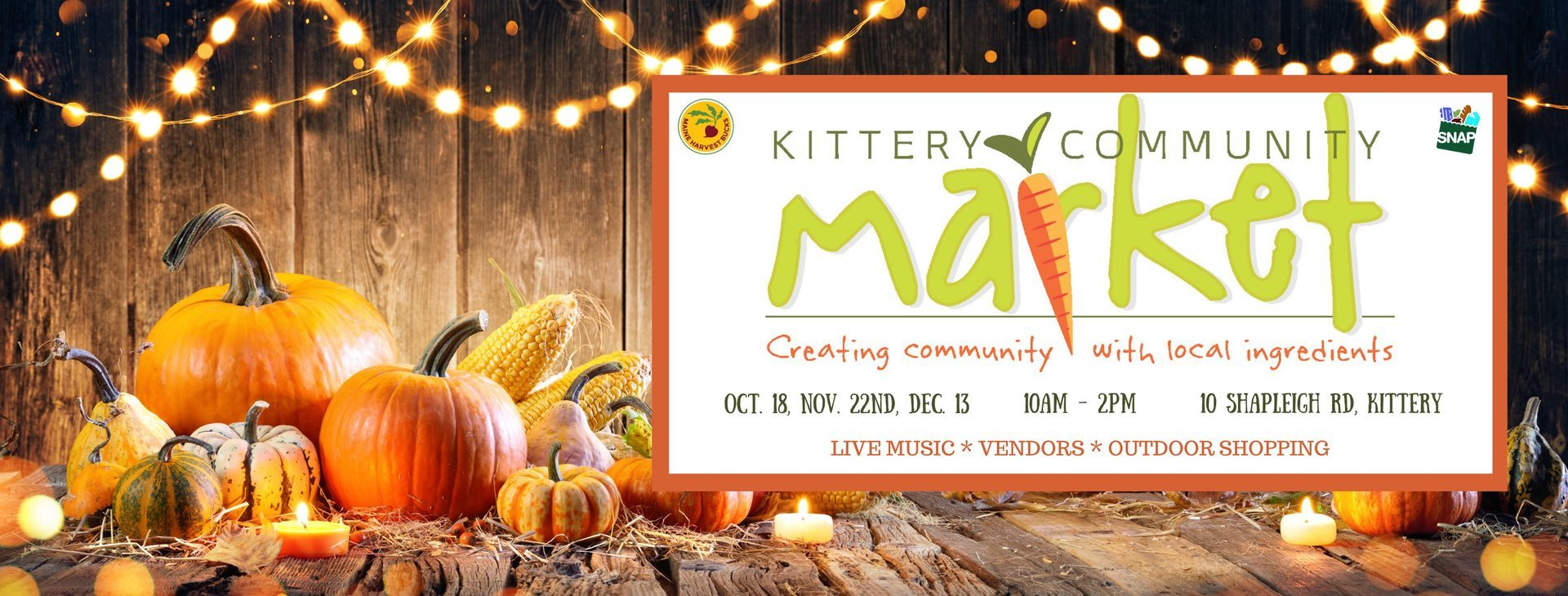This Sunday is our special Fall Event from 10am - 2pm. 🥕💚 Located in Post Office Square, 10 Shapleigh Road, Kittery, Maine.