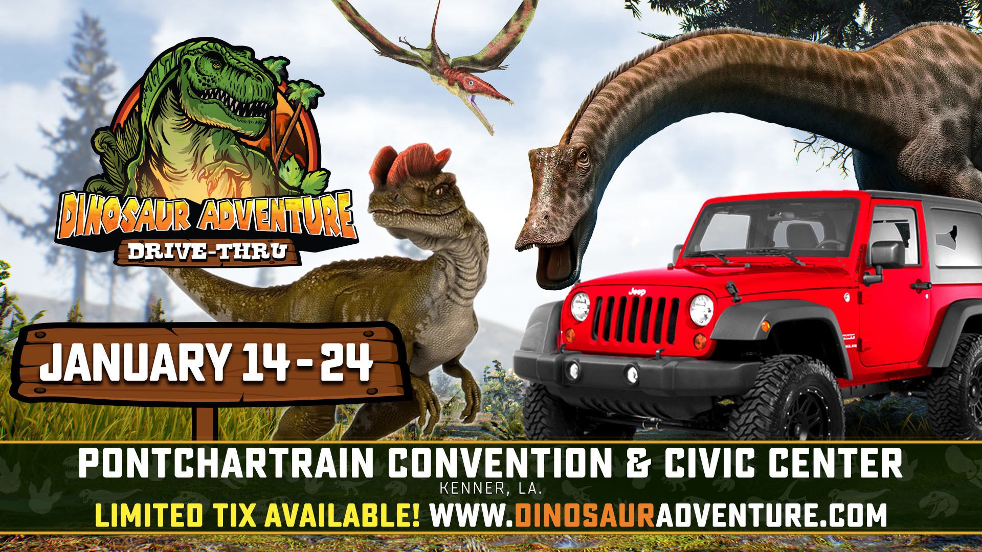 Bring the entire family to Dinosaur Adventure Drive-Thru where you can take a prehistoric tour featuring 80 moving breathing life sized dinosaurs. 2 Weekends only Jan 14 to Jan 24 - 2021