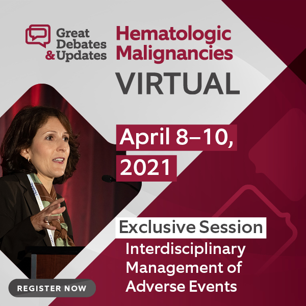 Debate-style series held virtually April 8-10, 2021. Meeting focusing on opposing sides on clinical, and sometimes controversial, topics currently disrupting the practice of hematology/oncology.
