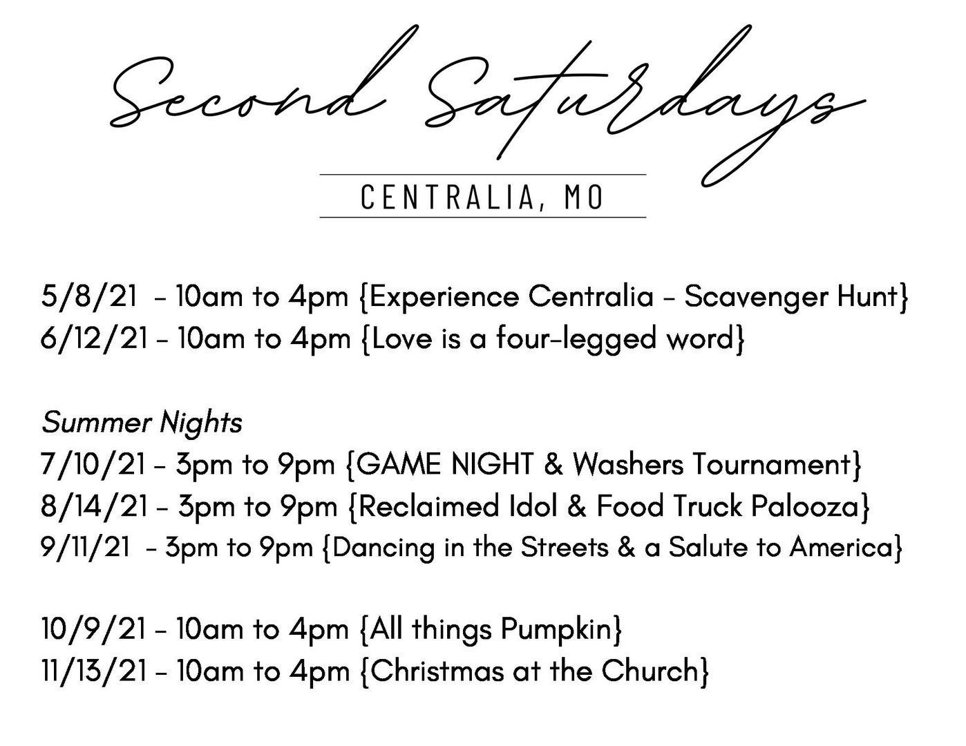Reclaimed Second Saturdays
