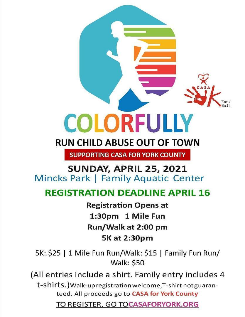 Chose from either a 5K run or 1 mile run/walk for this fun color-run event! An afternoon of great fun for runners and families supporting CASA for York County!
