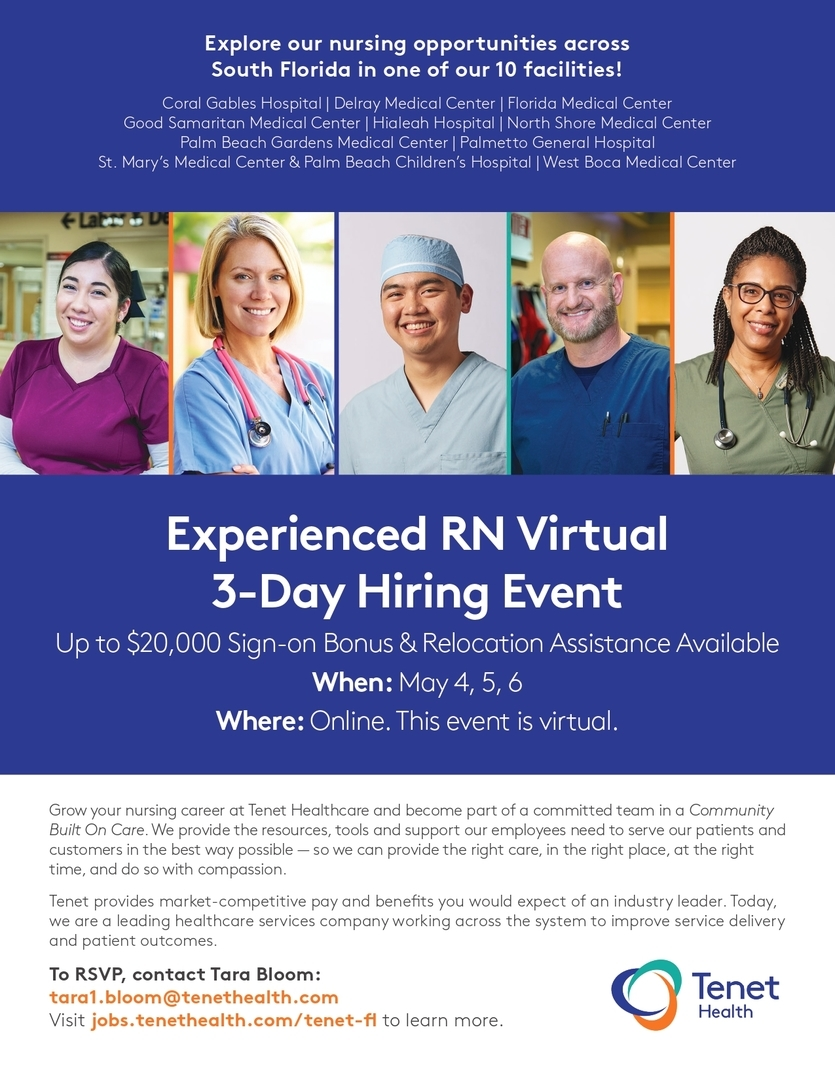 Explore our nursing opportunities across South Florida in one of our 10 facilities. Up to $20K sign-on bonus & relocation assistance available.