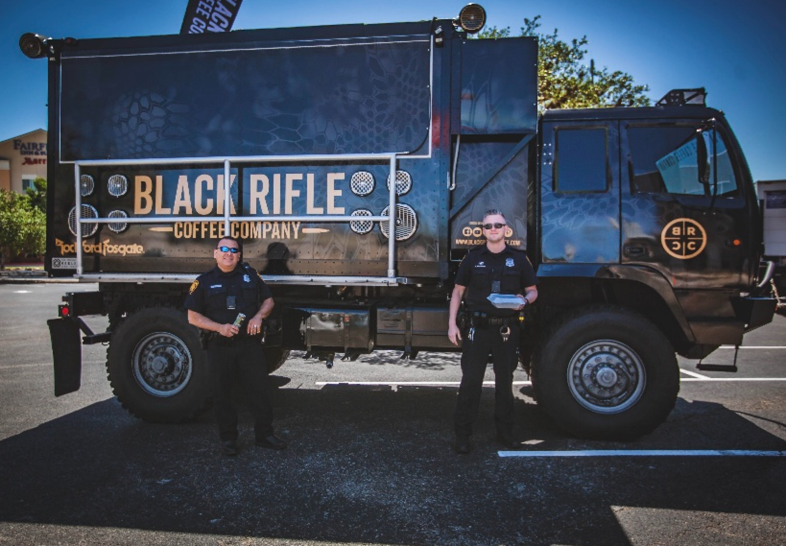 Free Black Rifle Coffee for First Responders served by NASCAR Driver Noah Gragson along with members of the Black Rifle Coffee Company & JR Motorsports Teams