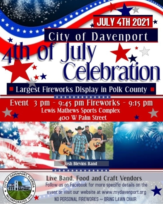 DAVENPORT 4TH OF JULY CELEBRATION AND FIREWORKS DISPLAY