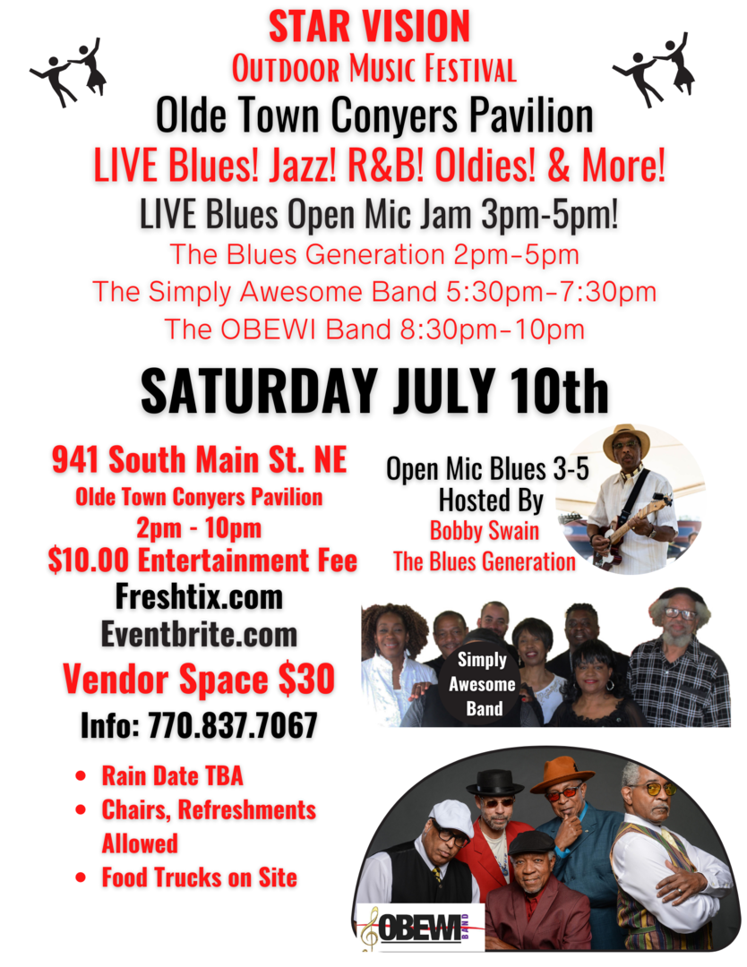 Olde Town Conyers Outdoor Music Fest! LIVE Blues! Jazz! R&B! Oldies! Motown! & More! Star Vision!