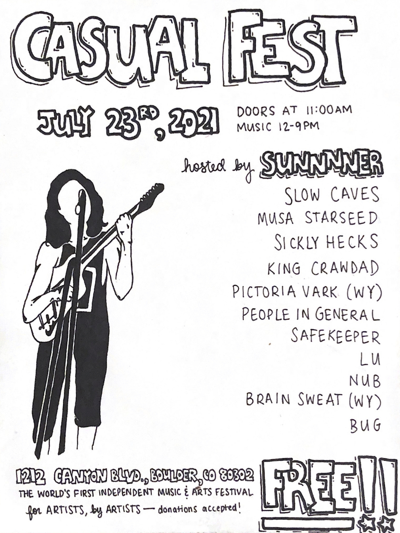 CASUAL FEST 2021 SUMMER SERIES : (#1 of 7) INDEPENDENT, LOCAL COLORADO FREE MUSIC AND ARTS FESTIVAL