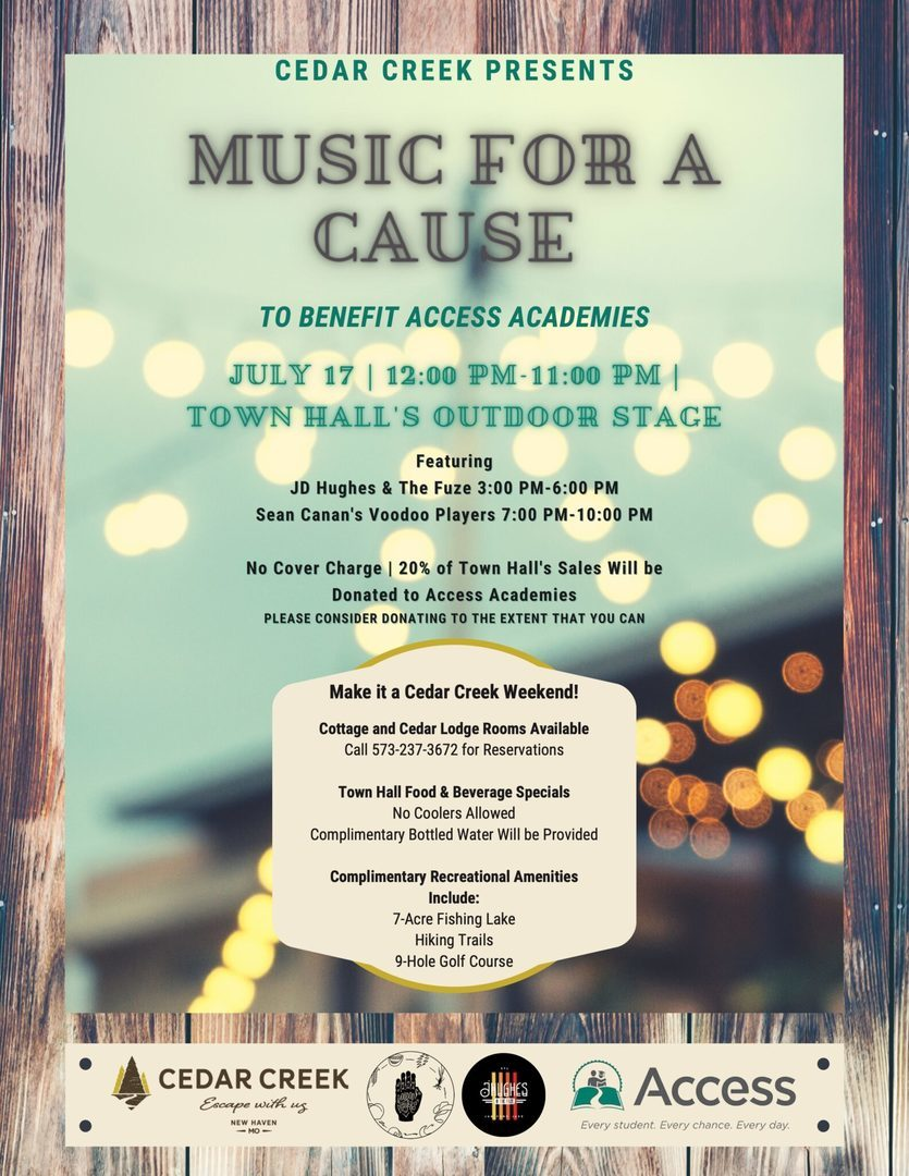 Cedar Creek's 'Music For A Cause' to Benefit Access Academies