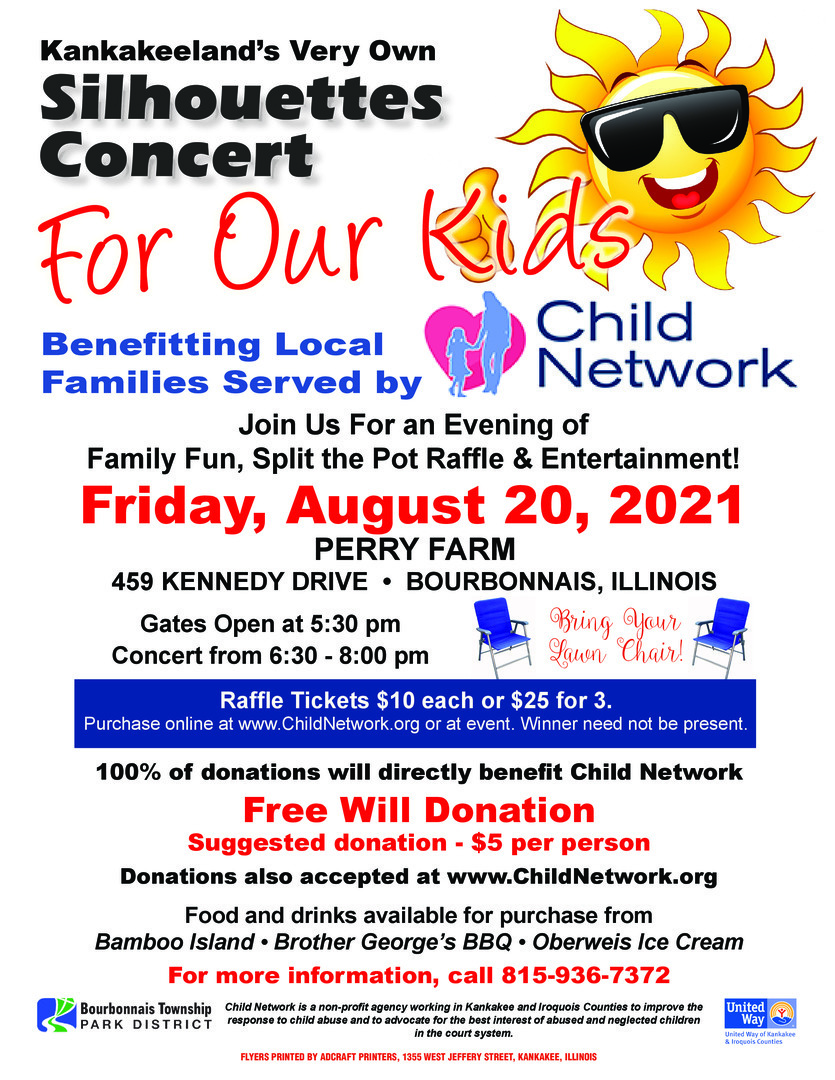Silhouettes Concert Benefitting Child Network, Friday, August 20, 6:30 - 8:00 p.m. at Perry Farm.