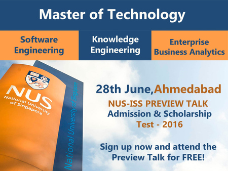 NUS-ISS Preview Talk - Admission & Scholarship Test - 2016 - Ahmedabad