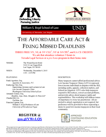 Pro Bono Event - The Affordable Care Act & Fixing Missed Deadlines