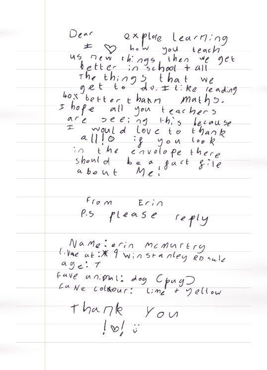 letter to explore learning