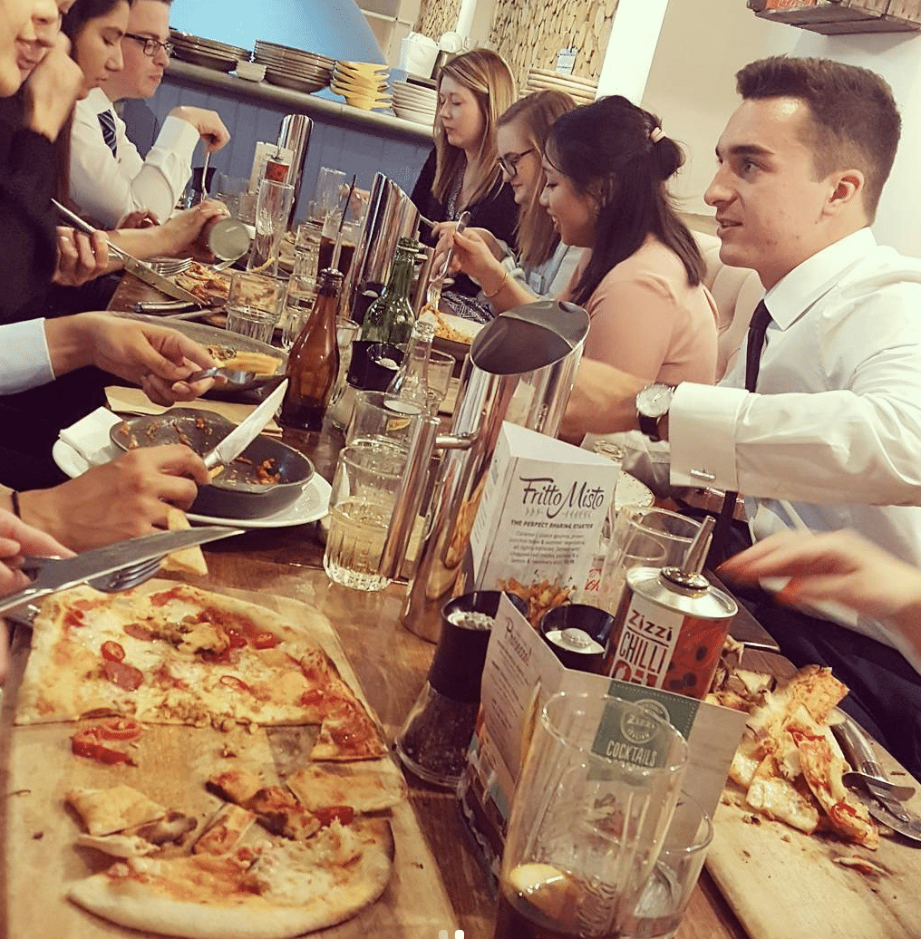 Assessment day lunch at Zizzi