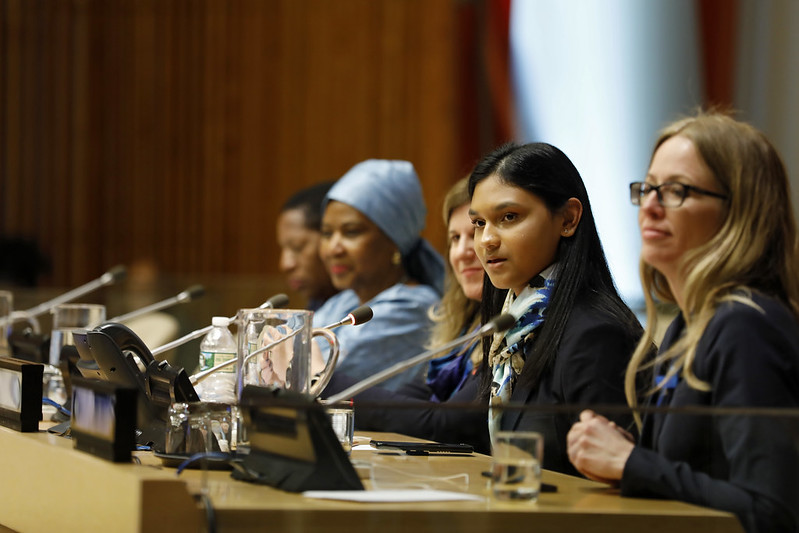 Kiara Nirghin, '22, addresses the United Nations in New York on International Women's Day, 2019