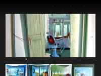 Olieverfschilderijen op ingezaagd paneel. Twee-dimensionaal realistisch werk met sterk ruimtelijke suggestie. Ruimtelijk Realistisch en Realistisch werk.