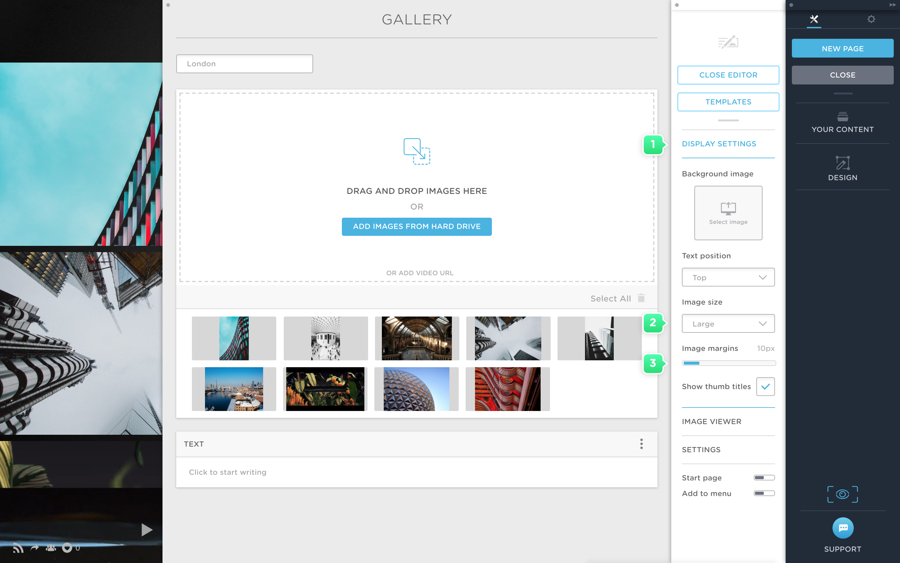 Define the image size and margins in your gallery