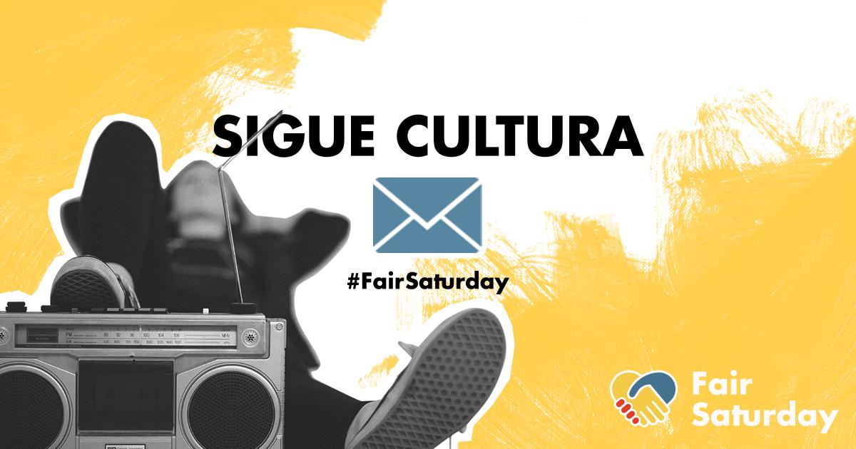 """Una mujer descansa junto a una radio. El mensaje indica en letras grandes: """"Sigue cultura"""""""