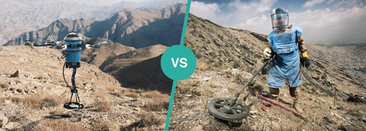 El dron Mine Kafon comparado con un hombre rastreando minas.