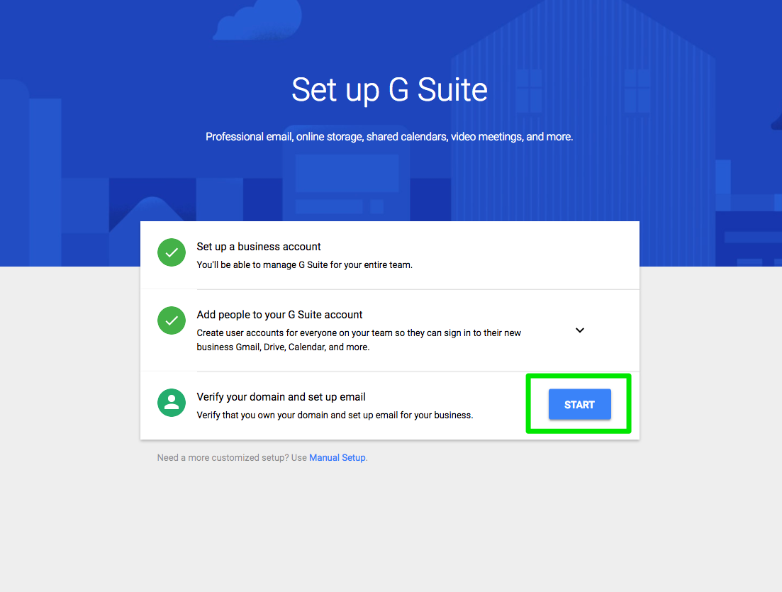 Setup G-Suite  </p> </p> Step 6