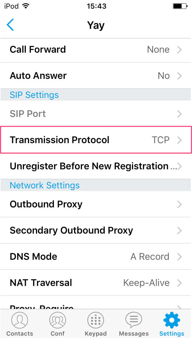 TCP Settings