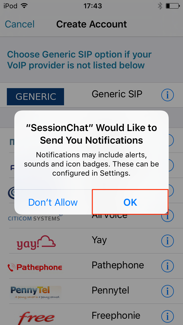 SessionChat push notifications