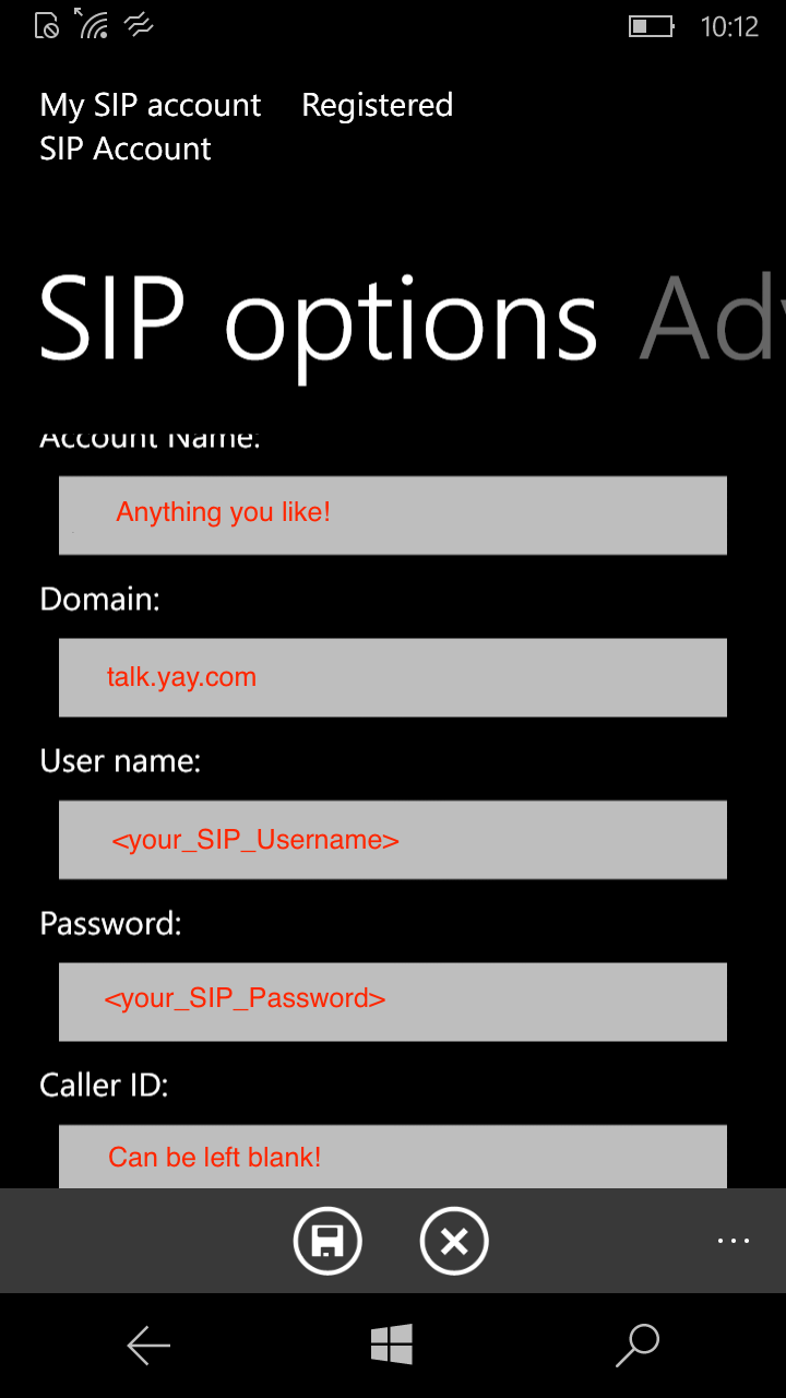Enter your SIP Credentials