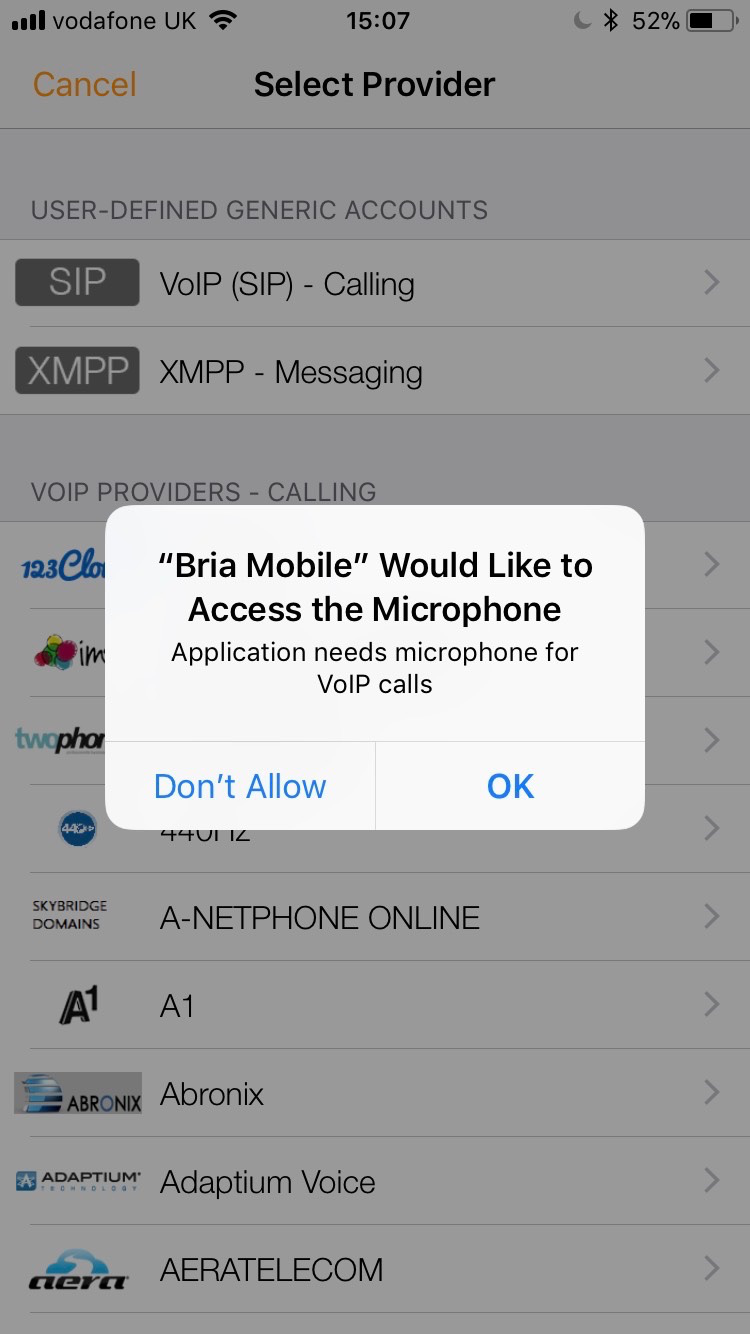 Allow push notifications and access to microphone.