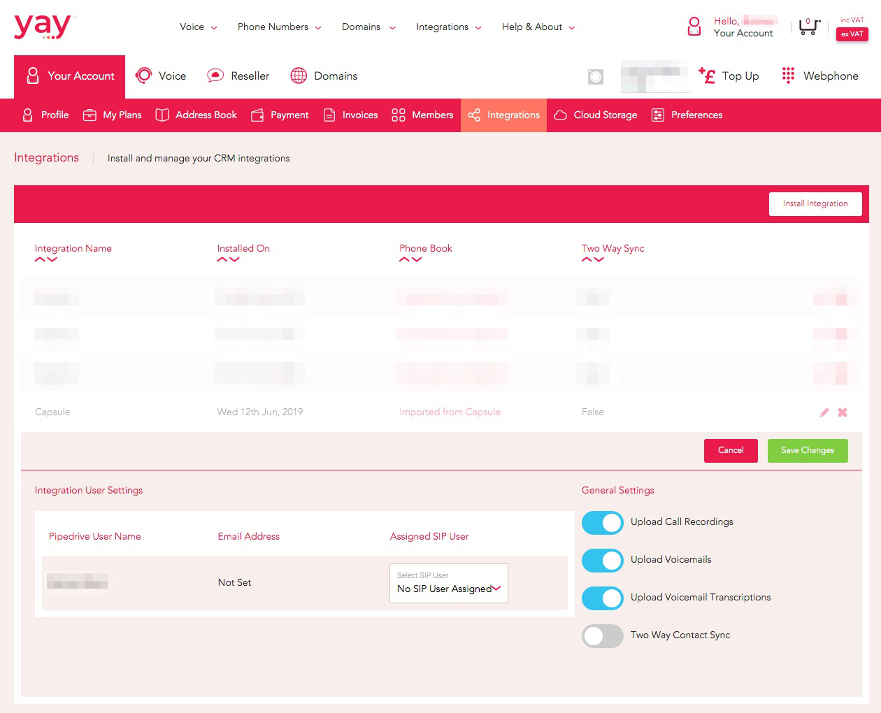 Selecting Capsule permissions from the Yay dashboard