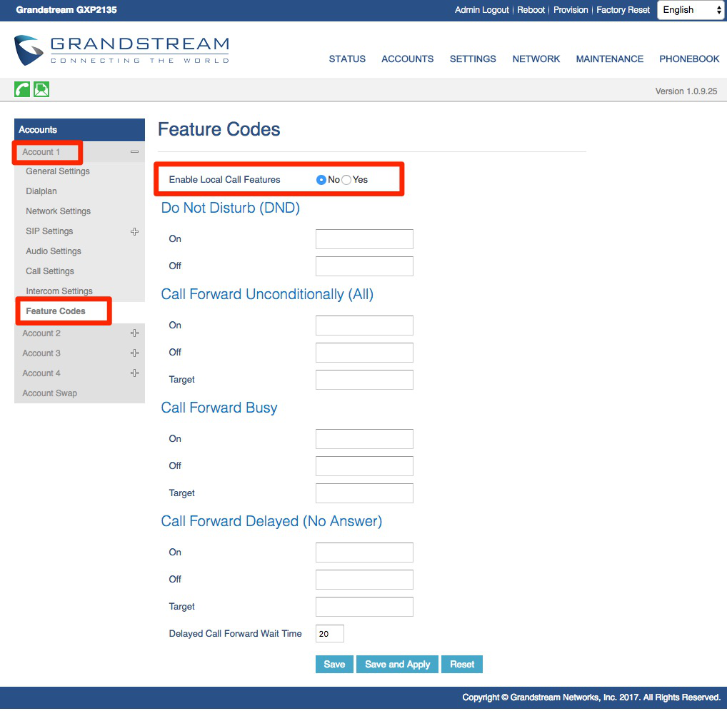 Visit Accounts, Account 1, Feature Codes, and disable Local Call Features.