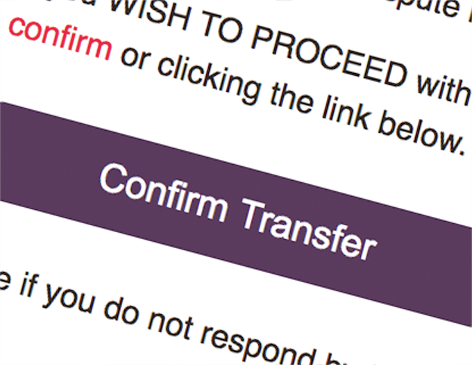 Confirm your domain transfer
