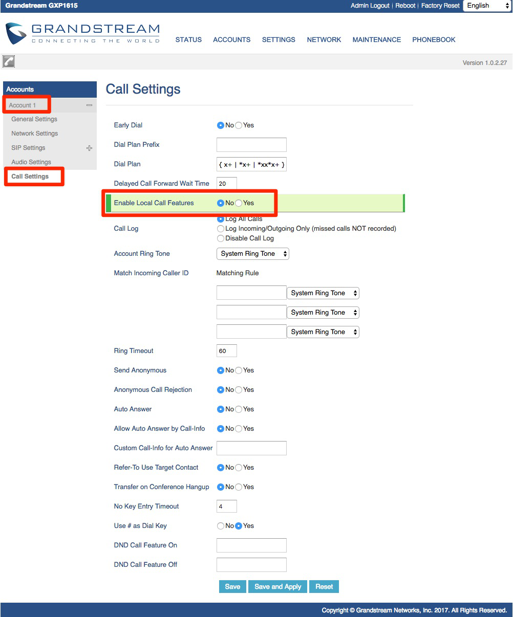 Visit Accounts, Account 1, Call Settings, and disable Local Call Features