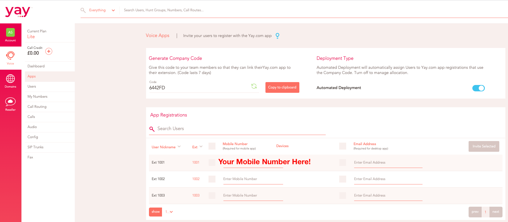 Head to the apps tab to deploy your user to the Yay.com Mobile App.