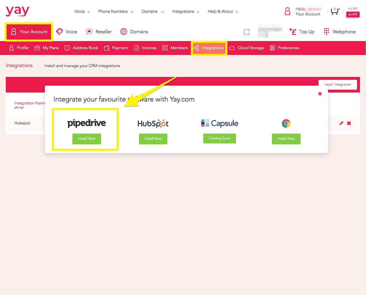 Navigating to the integrations tab