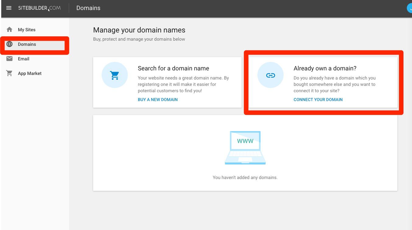 Under the menu, click 'Domains' and navigate to 'Already own a domain?'