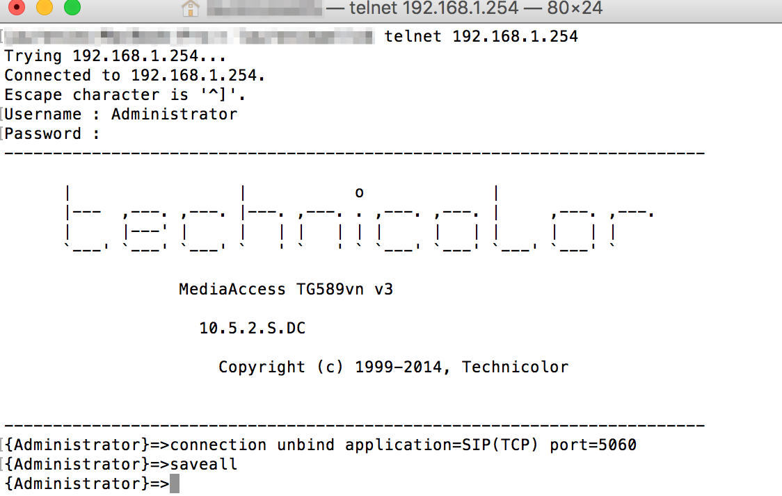 technicolor MAC telnet